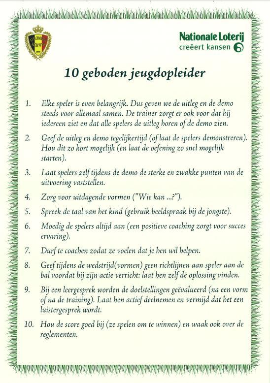 10 geboden van de jeugdopleider